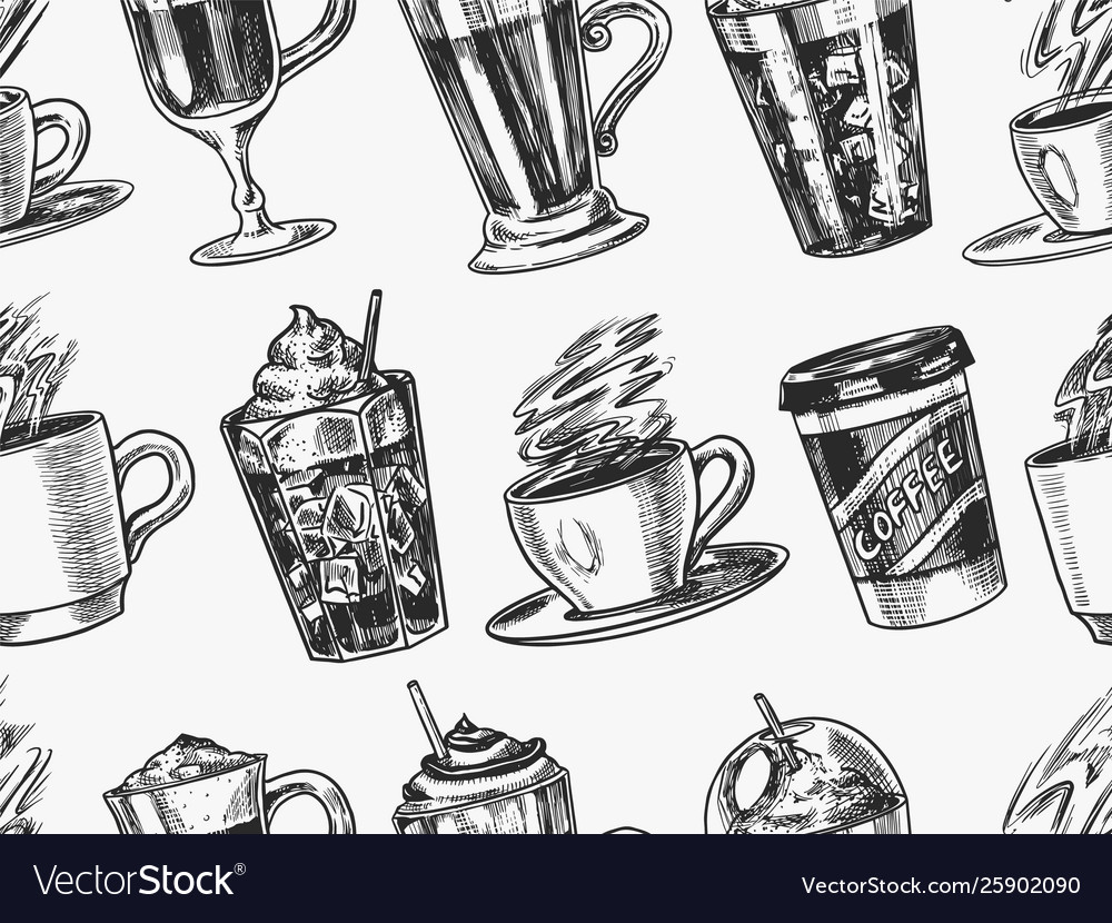 Cups coffee background in vintage style