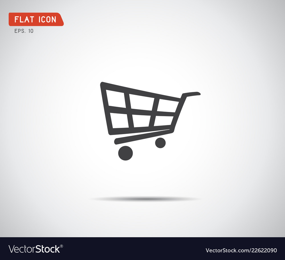 Flat shopping cart icon logo design