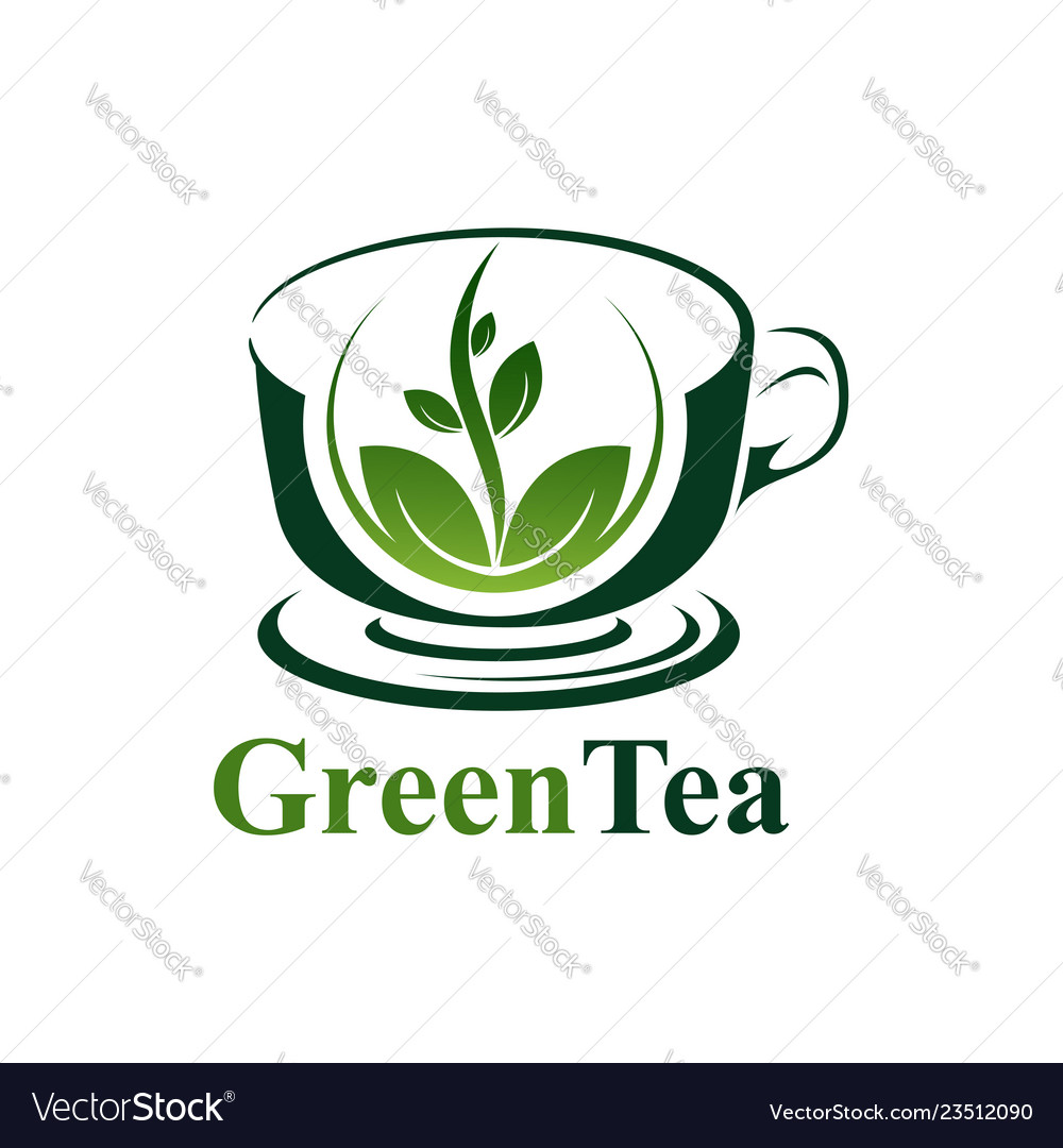 Green tea cup logo concept design symbol graphic