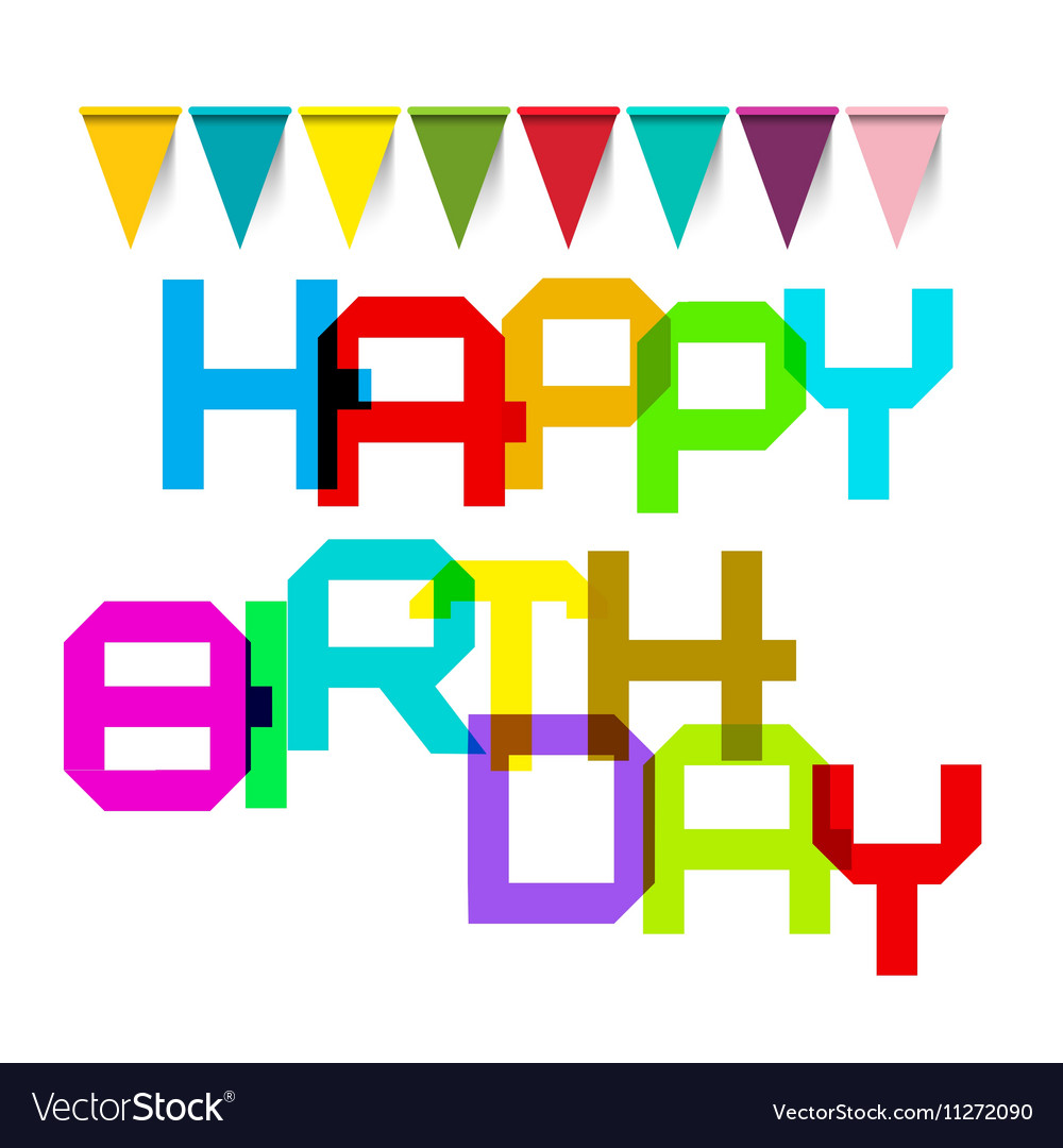 Happy Birthday Colorful Title and Flags vector image