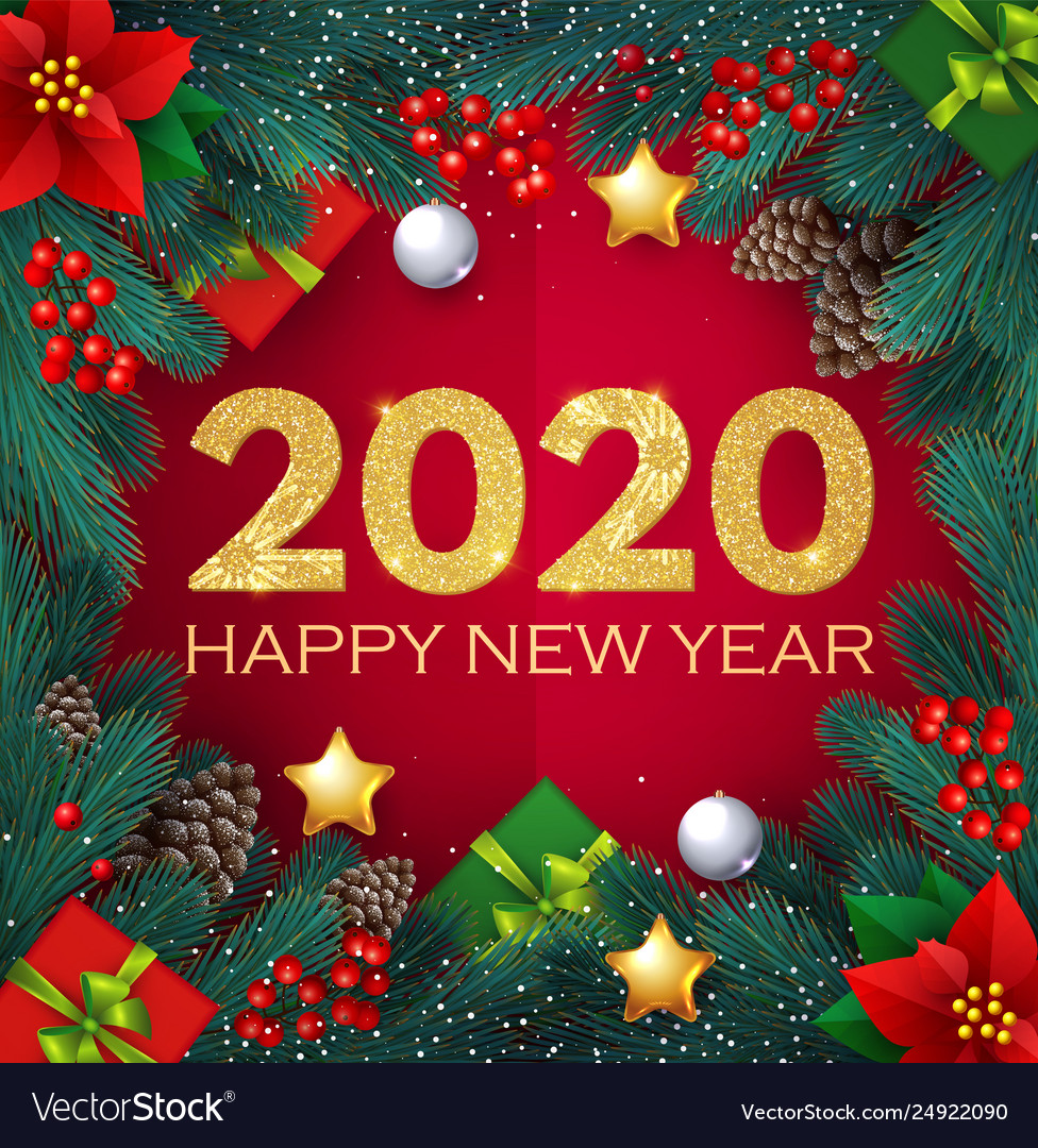 2020 Christmas Happy new 2020 year realistic christmas Royalty Free Vector
