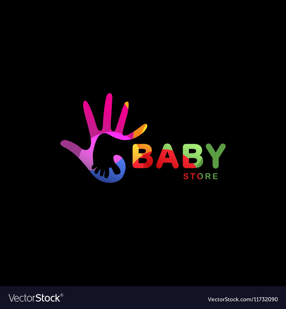 Isolated abstract colorful baby foot in adult hand