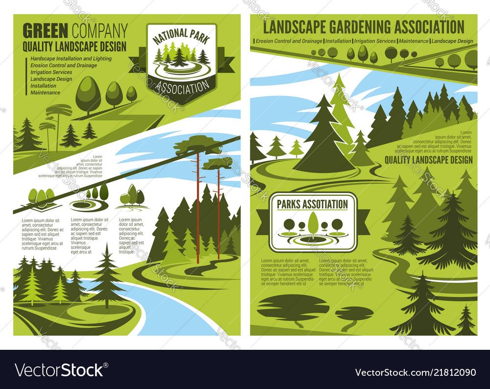 Landscape design and gardening association posters