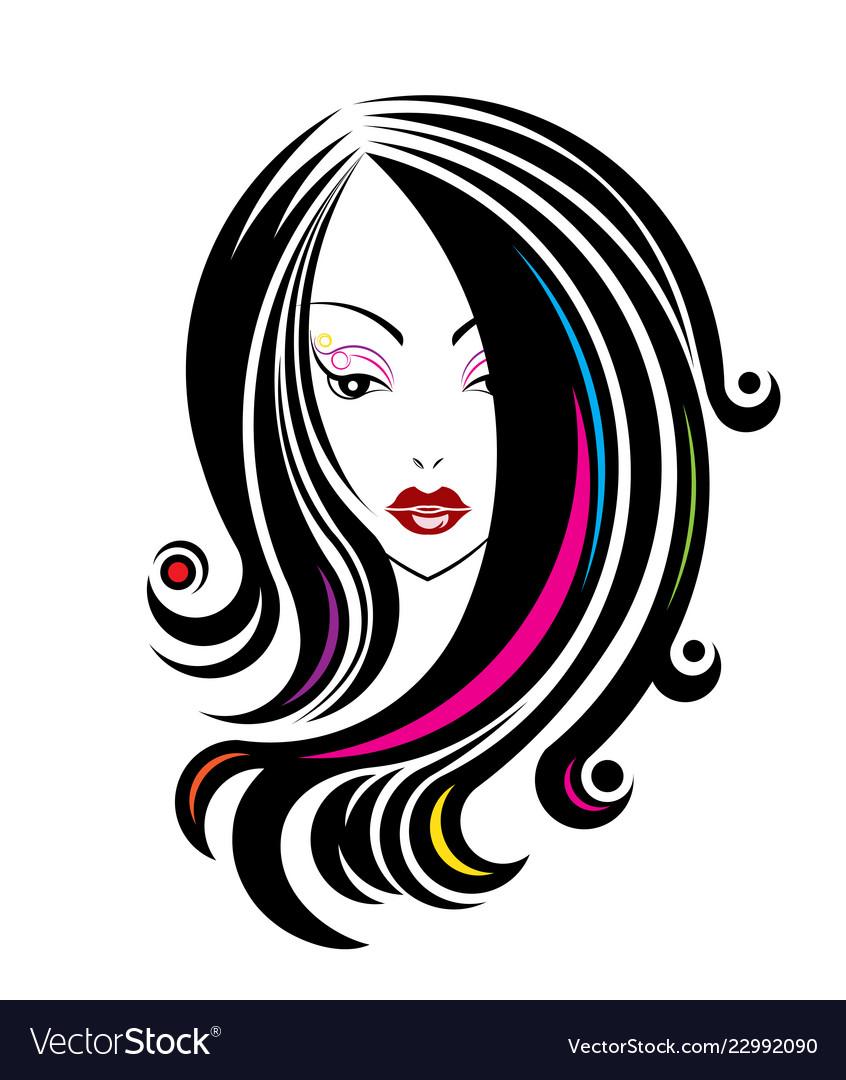 Long Hair Style Icon Logo Women Face