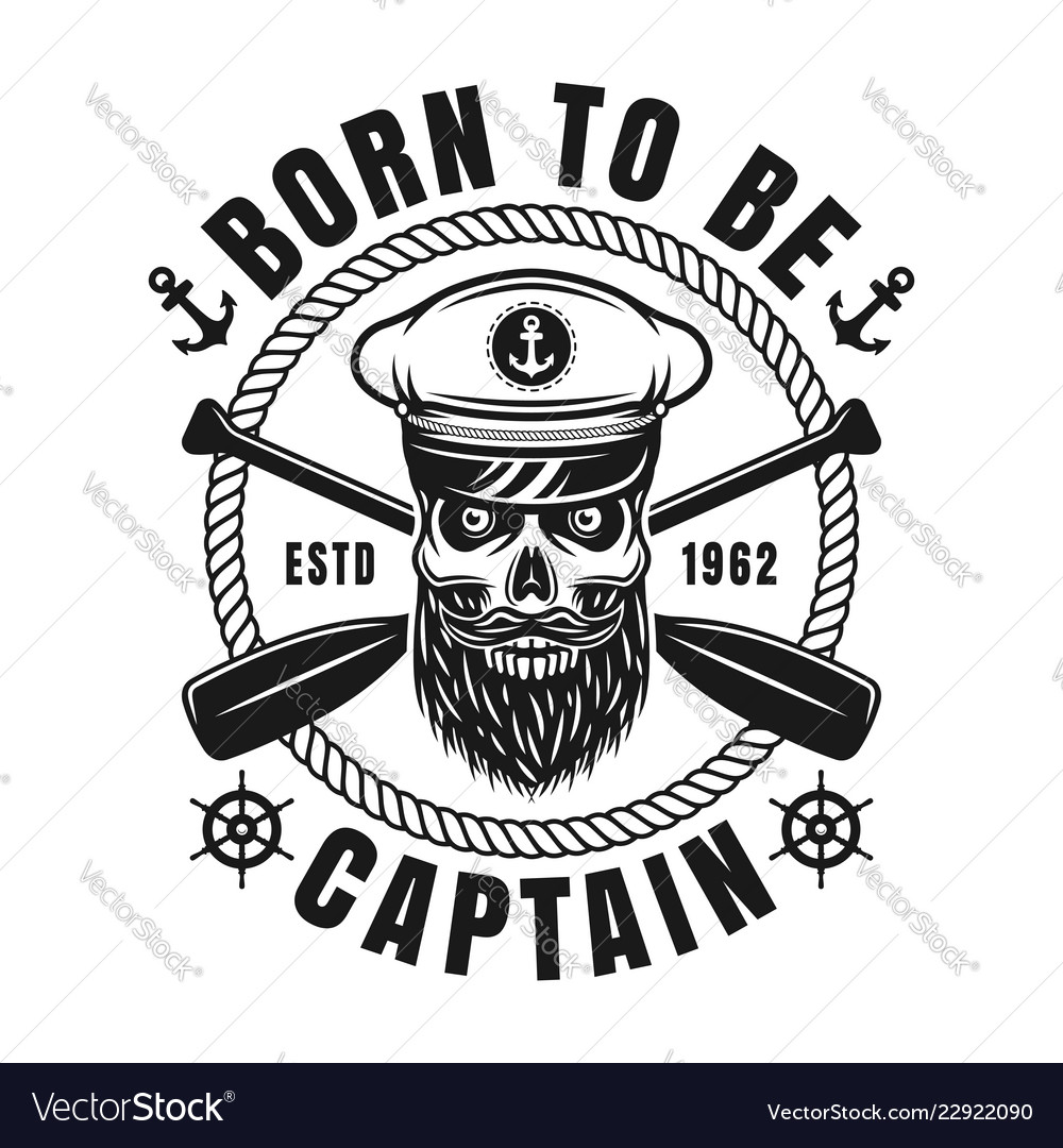 Nautical emblem with bearded skull and text