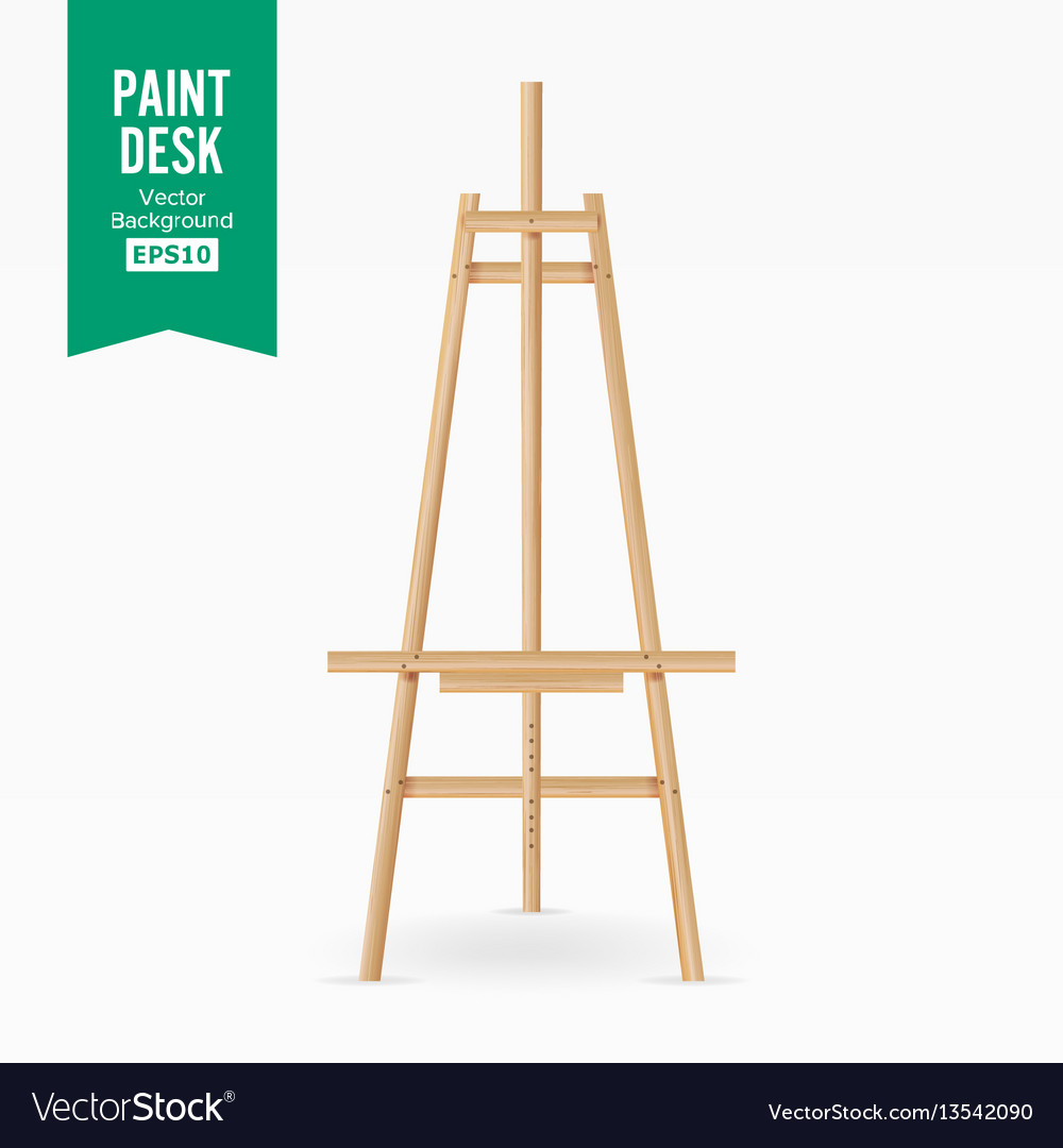 Paint desk wooden easel with empty white