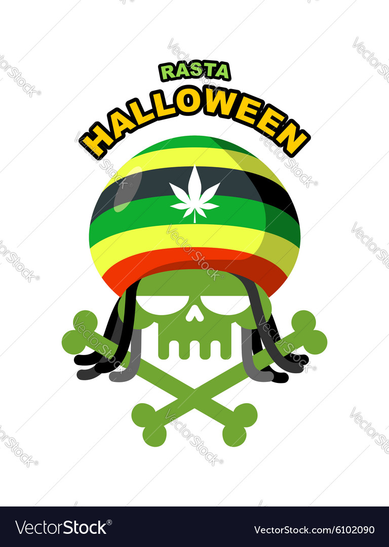Rasta Halloween Night Skull addict with dreadlocks