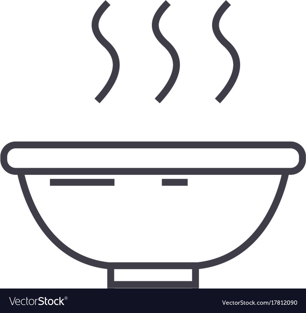 Soup bowl line icon sign on