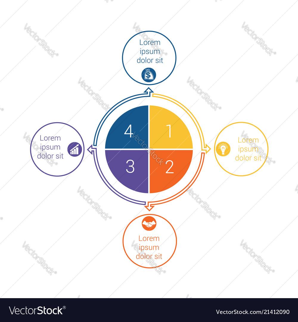 Template for info grapchics diagram 4 cyclic