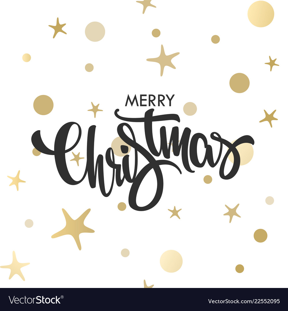 Christmas hand drawn gold lettering design