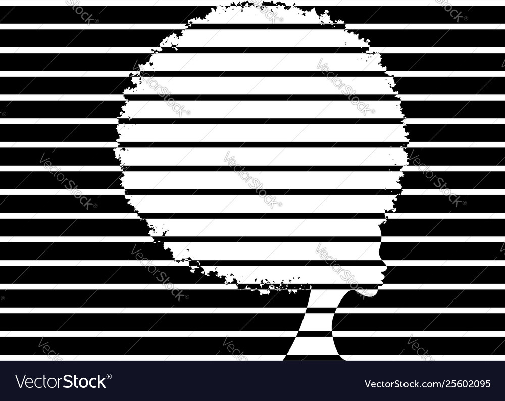 Curly afro hair portrait african women striped