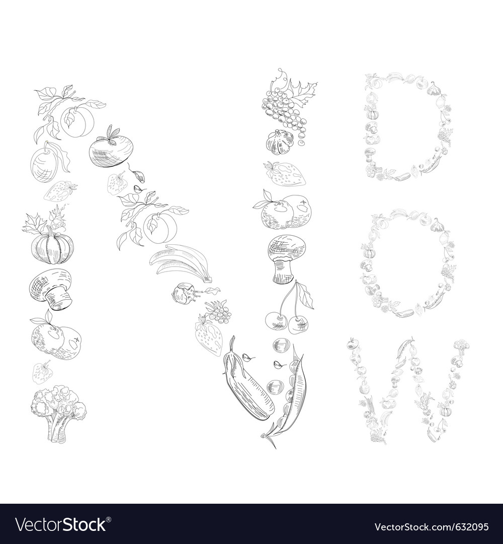Decorative font with fruit and vegetable letter n vector image