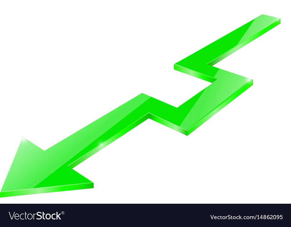 Green arrow glass shiny sign