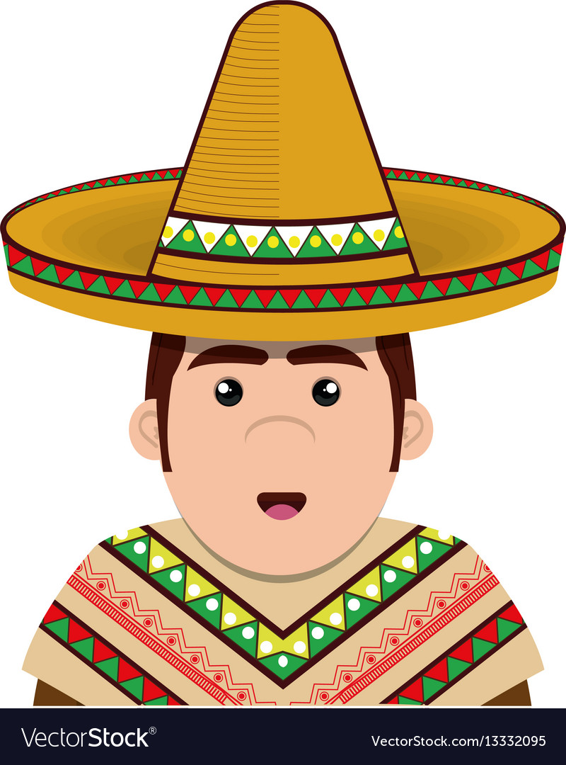 Half body man mexican with hat