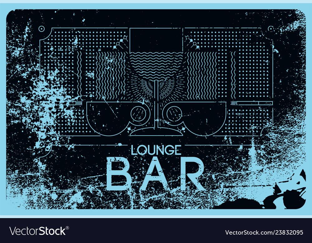 Lounge bar menu grunge geometric pattern design