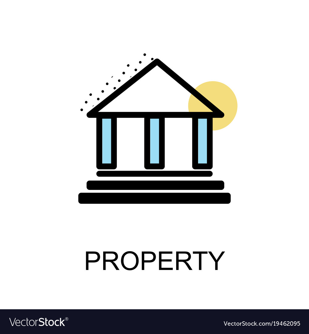 Property icon and building on white background