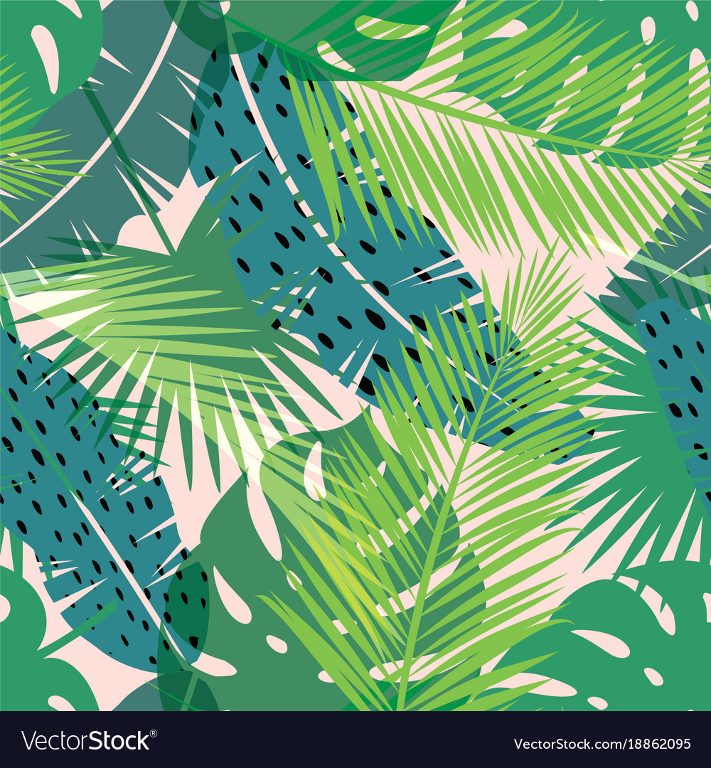 Tropical summer print with palm seamless pattern Vector Image