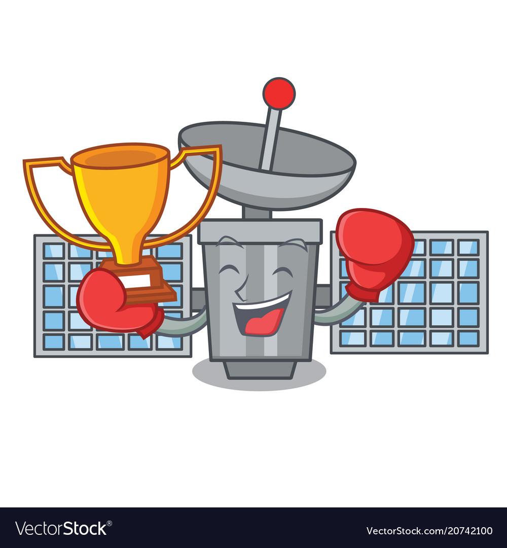 Boxing winner satelite mascot cartoon style