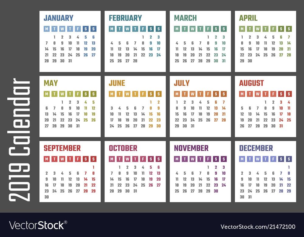 Calendar for 2019 starts monday calendar