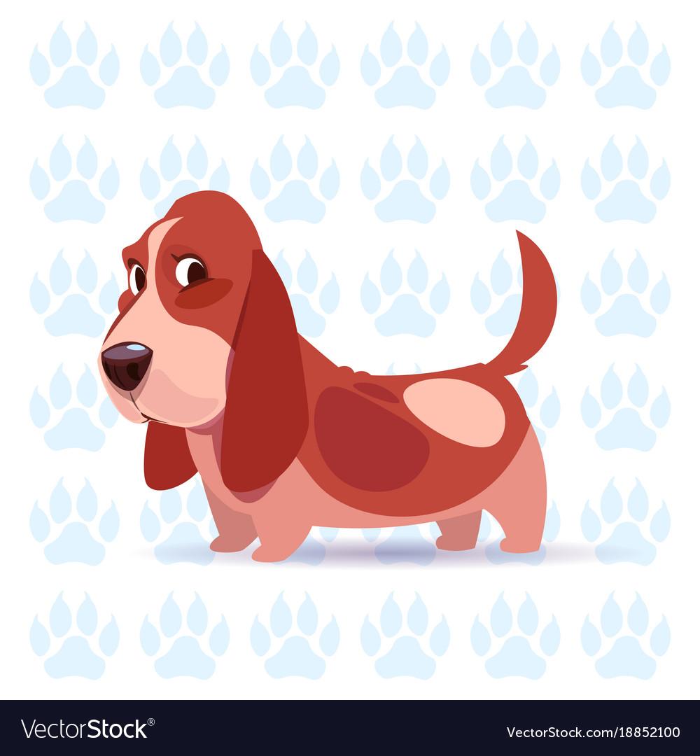 Dog basset hound happy cartoon sitting over