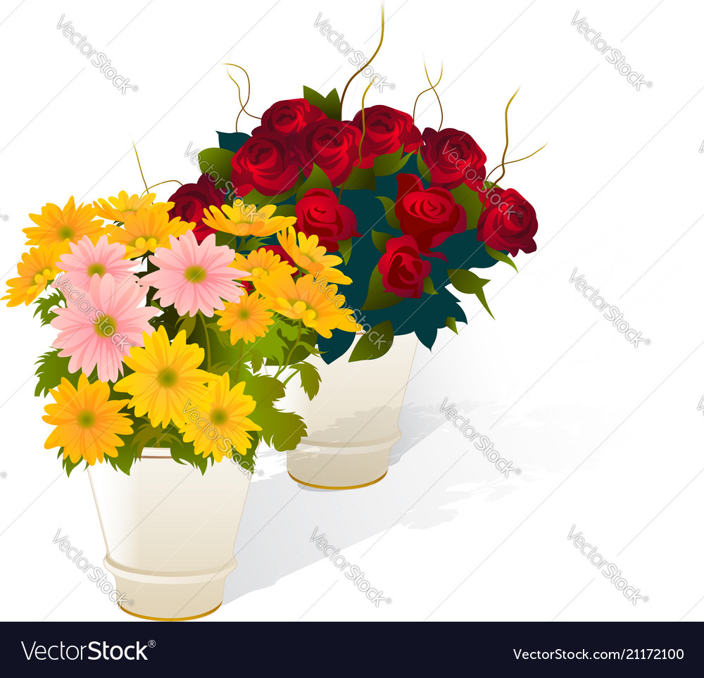 Flowers and vase realistic