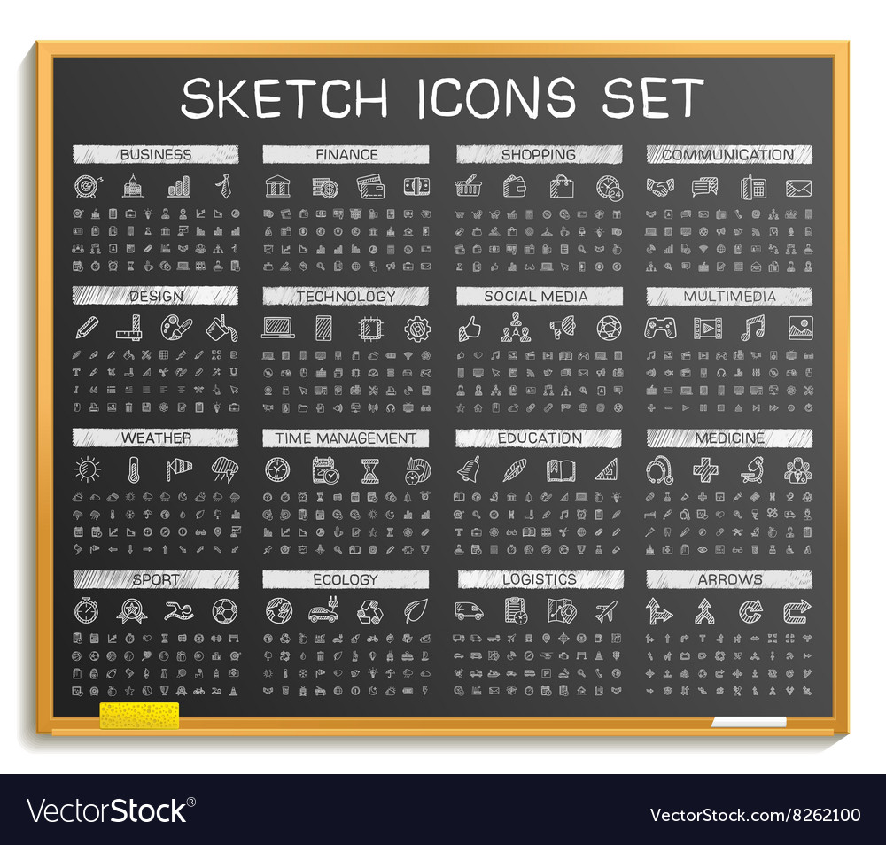 Hand drawing line icons doodle pictogram