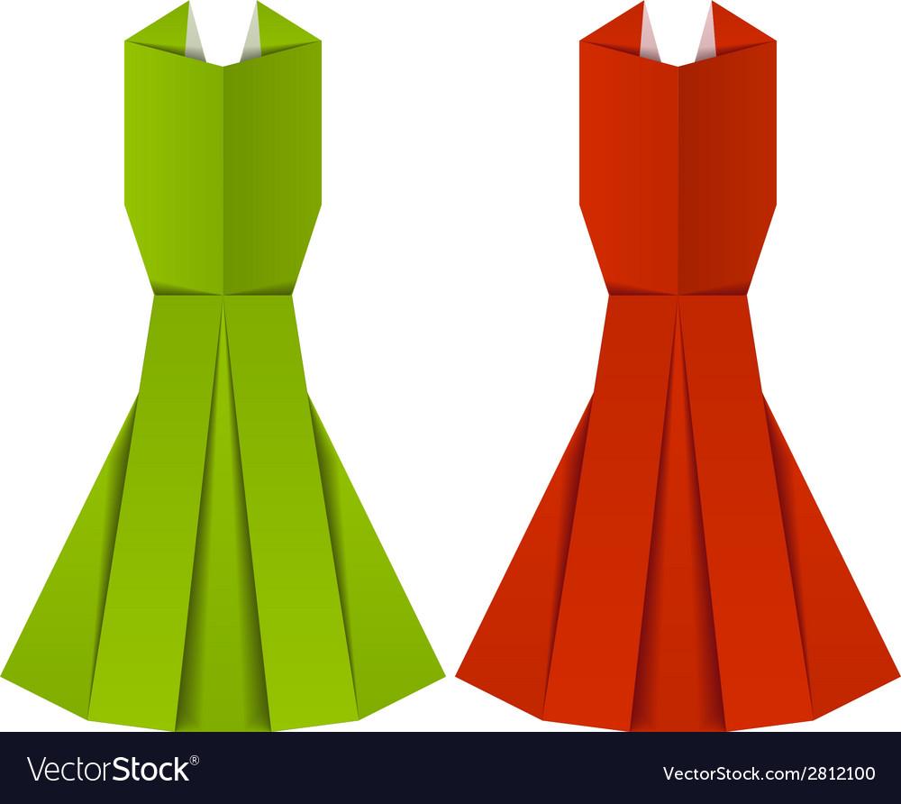 Origami paper ladies evening garments