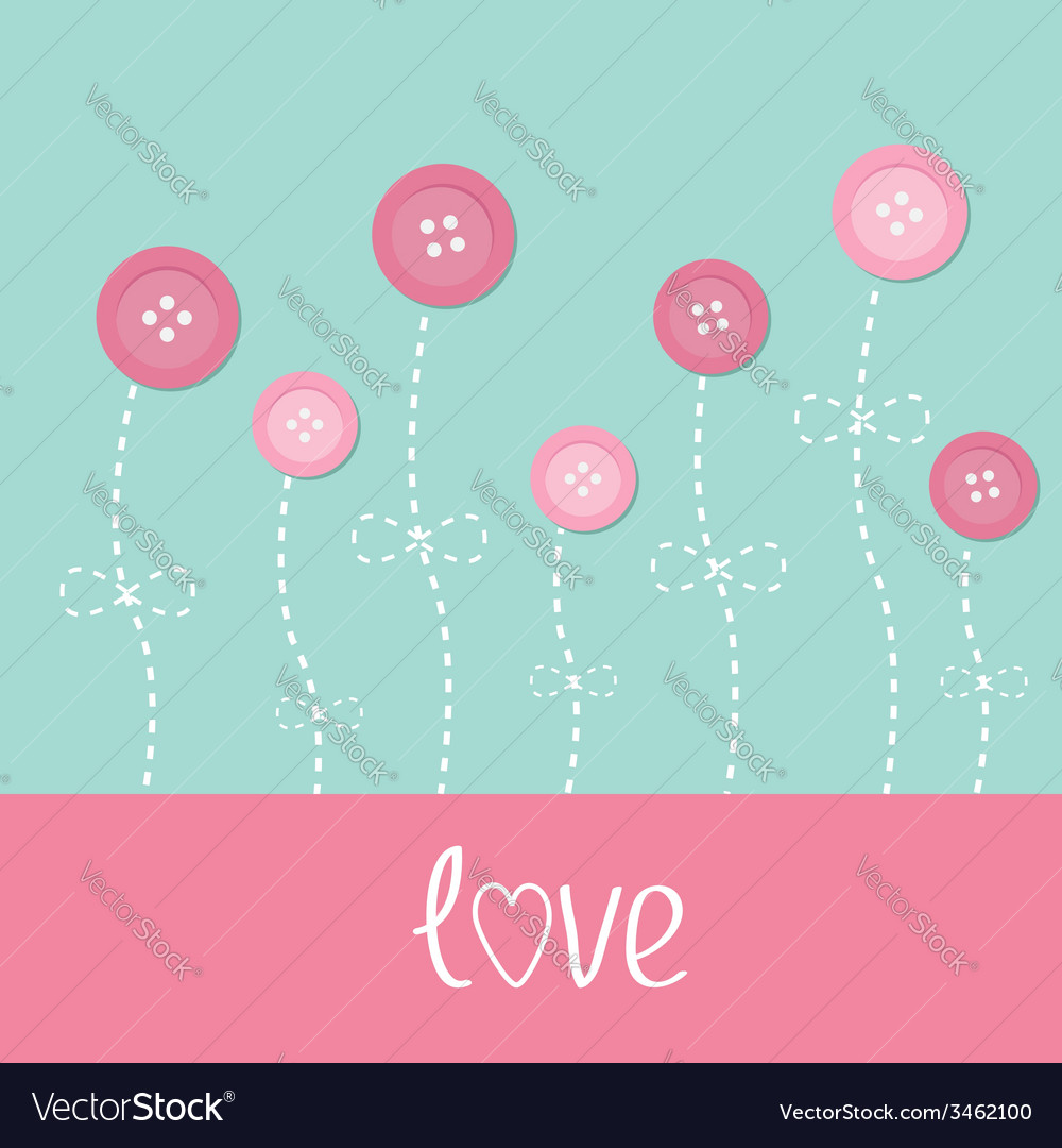 Pink button flowers Dash line stem with bow Love