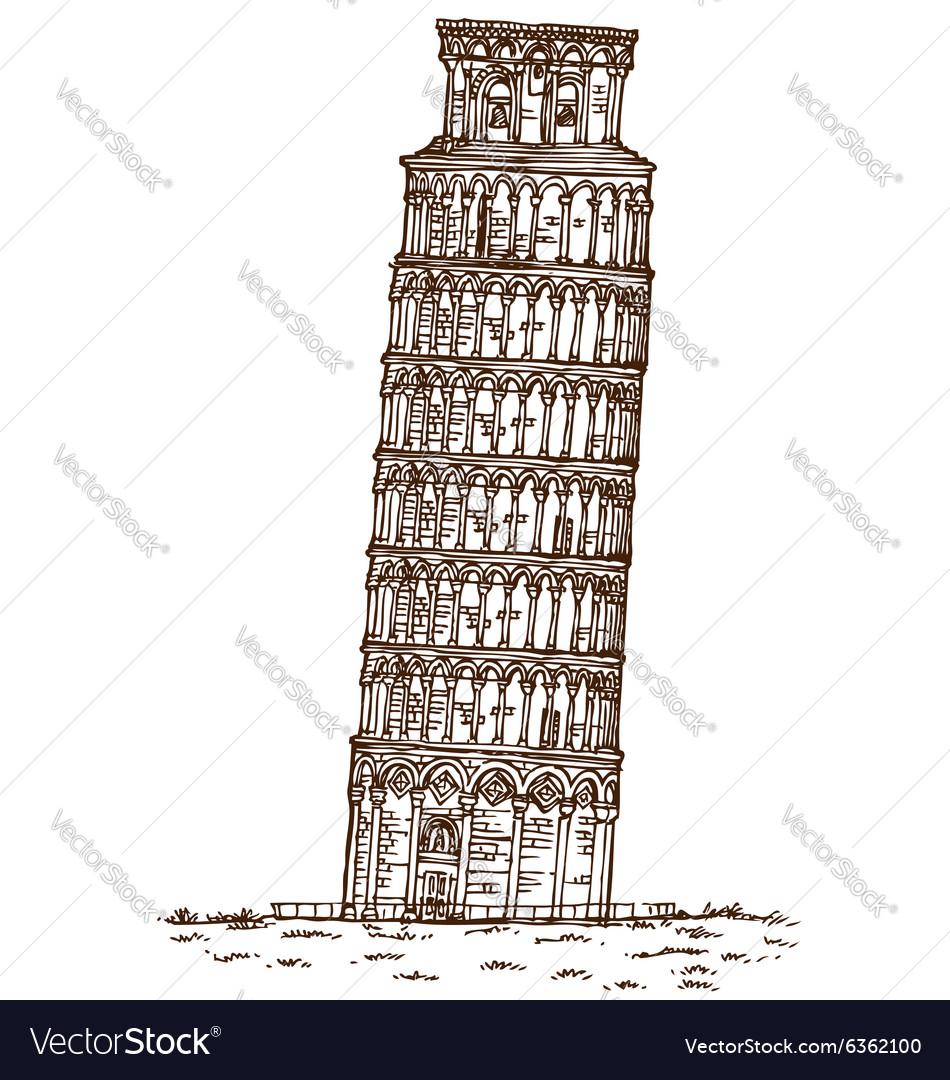 Pisa tower hand draw