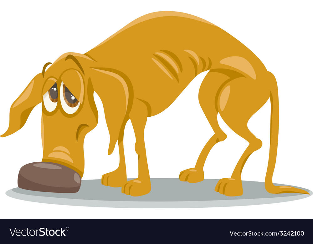 Sad homeless dog cartoon