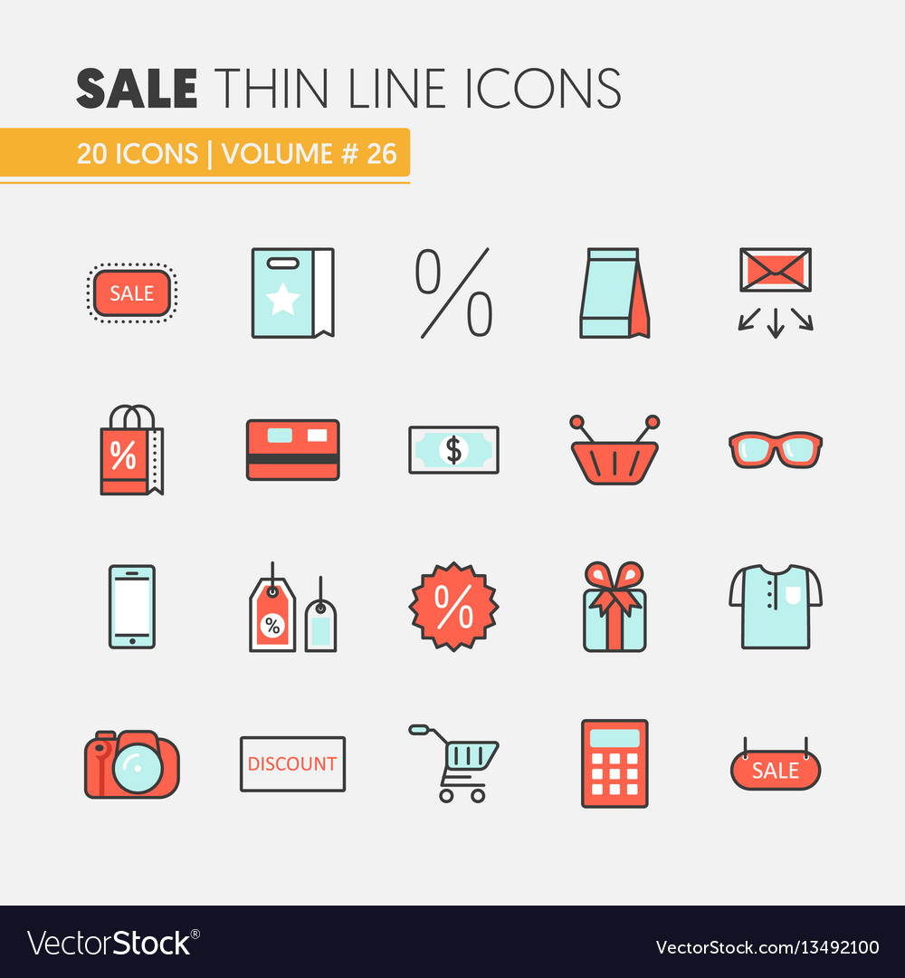 Sale discount linear thin line icons set