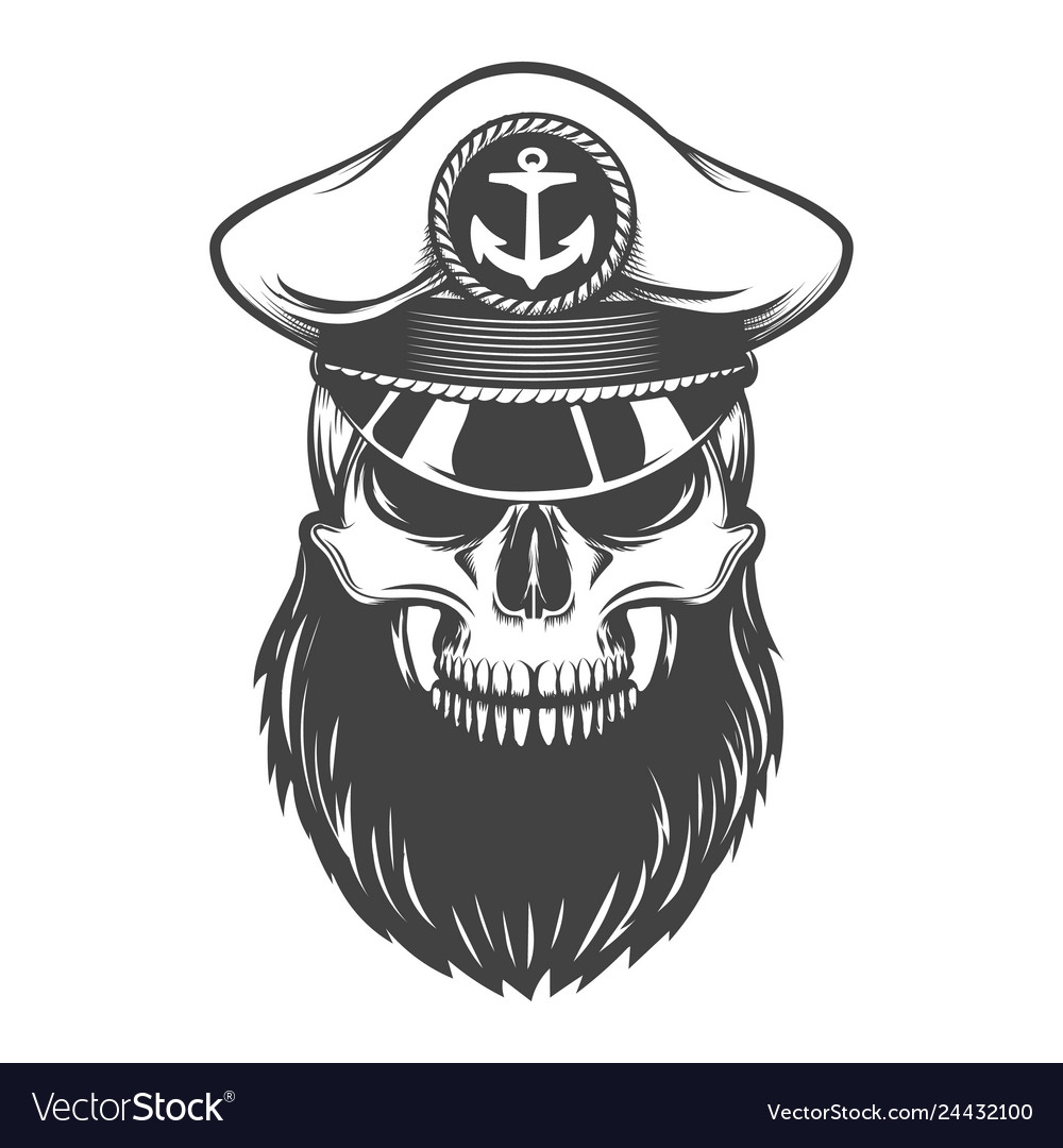 Skull with beard in captain hat