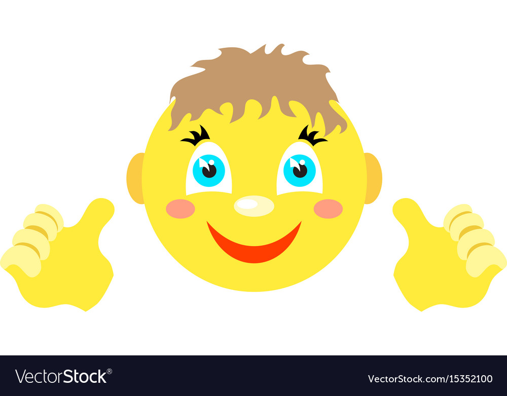 Smiley boy with finger gesture with both hands
