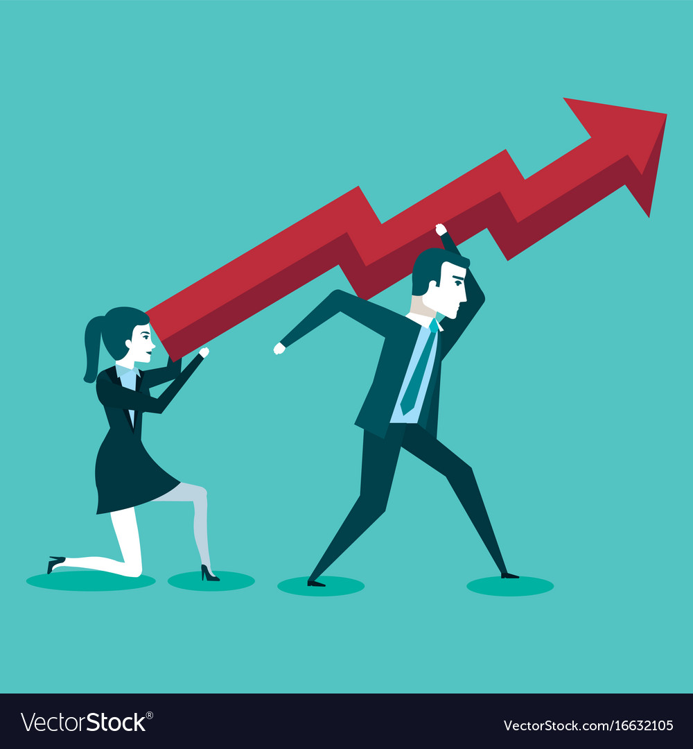 Business man and woman holding a red arrow up vector image