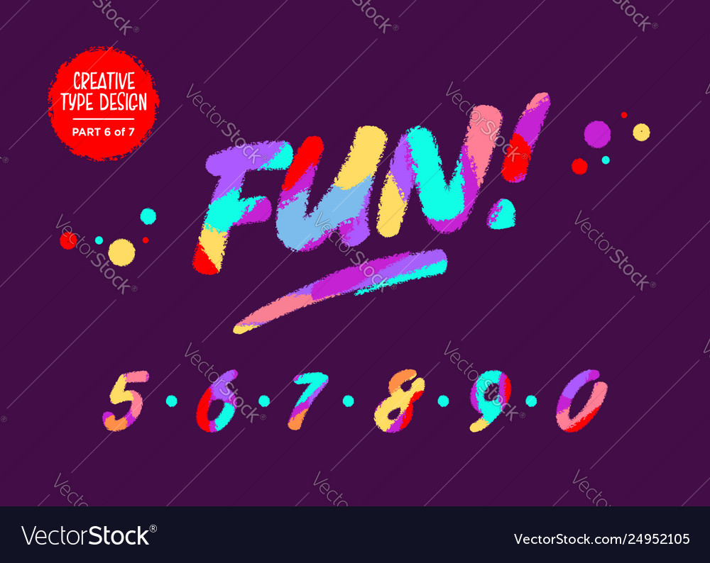 Colourful numbers kids font in cartoon