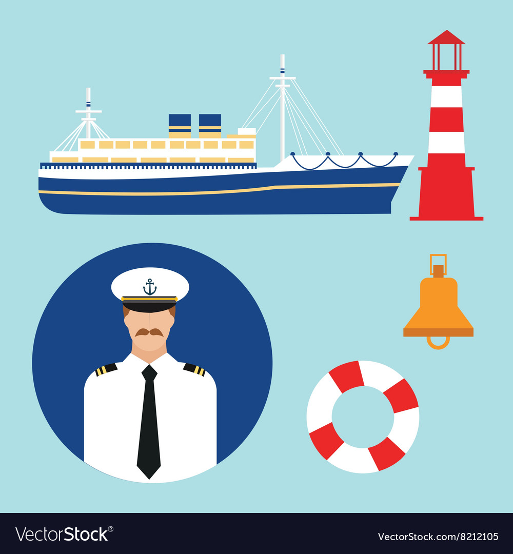 Cruise ship captain boat sailor icon set