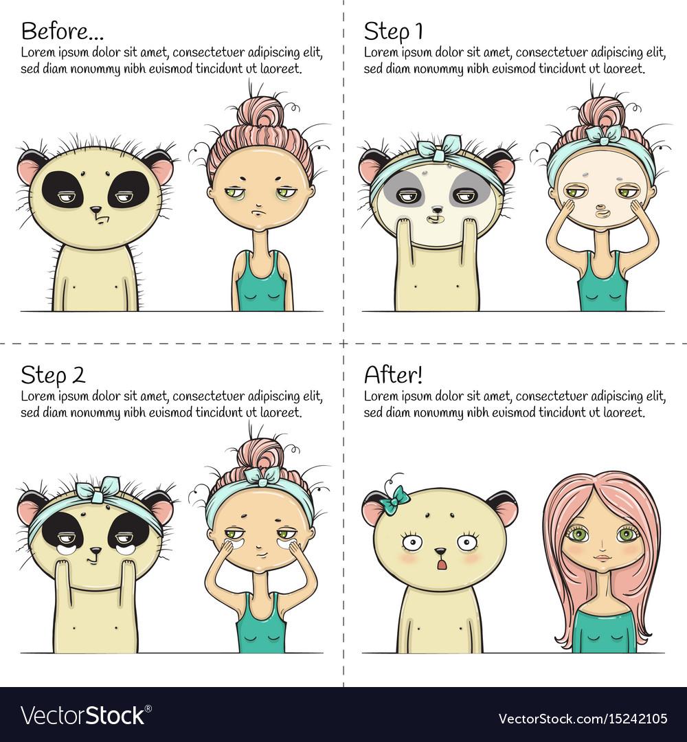Cute facial treatment instruction girl and panda vector image
