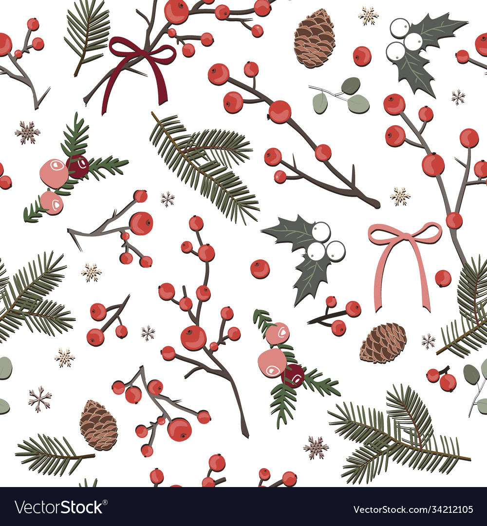 Cute winter seamless white pattern with berries