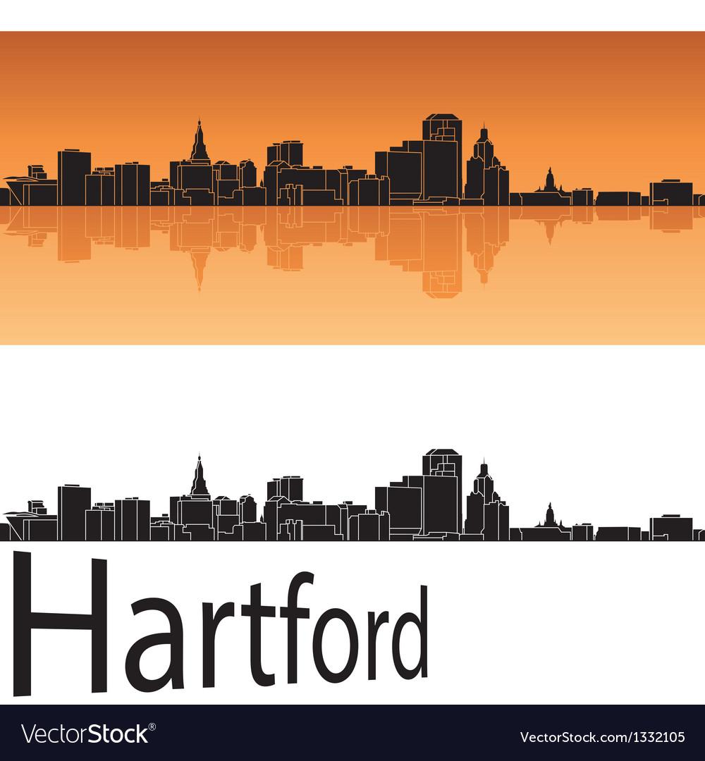 Hartford skyline in orange background vector image