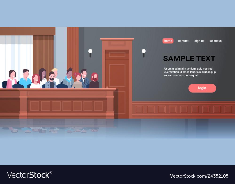 Men women sitting jury box court trial session mix