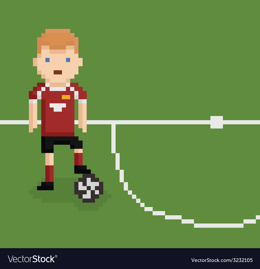 Pixel Art Style Football Soccer Player On Green