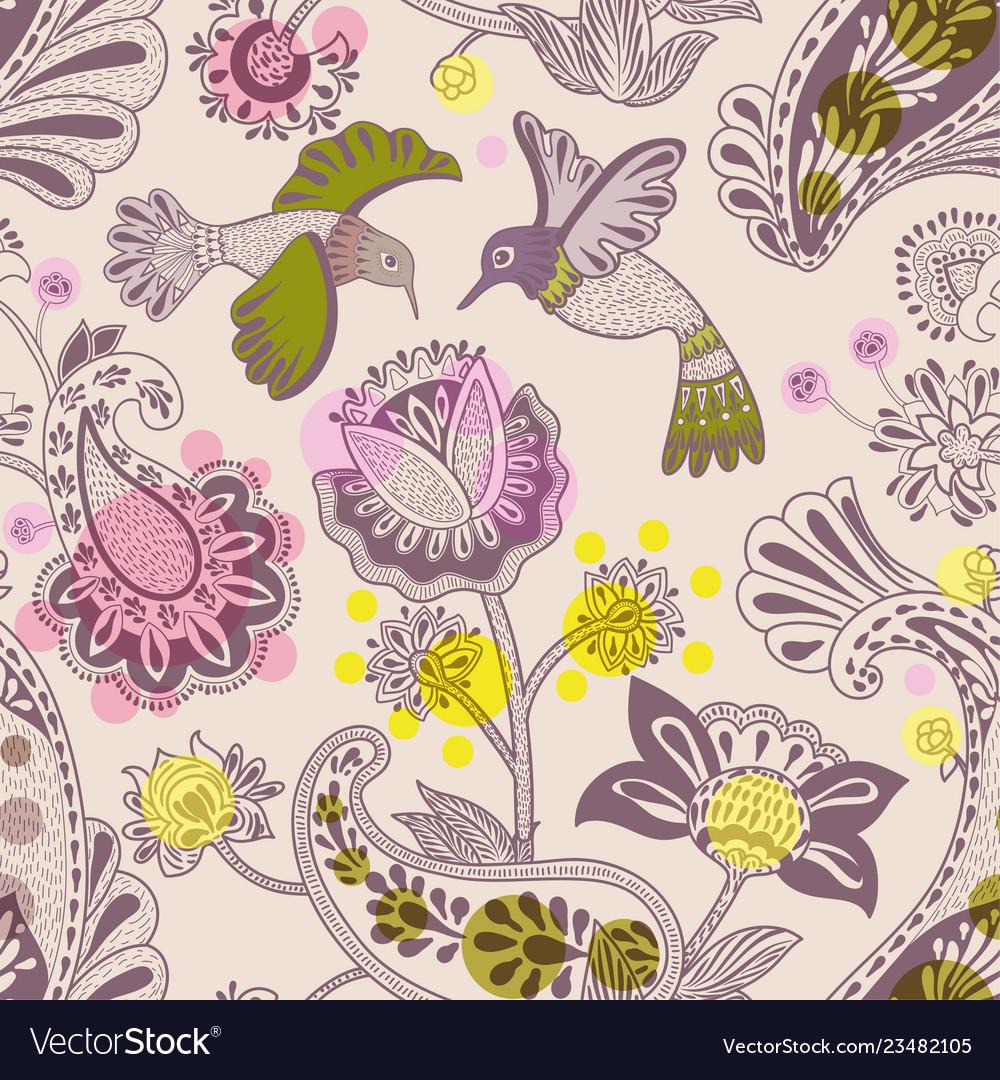 Stylized flowers and birds seamless pattern