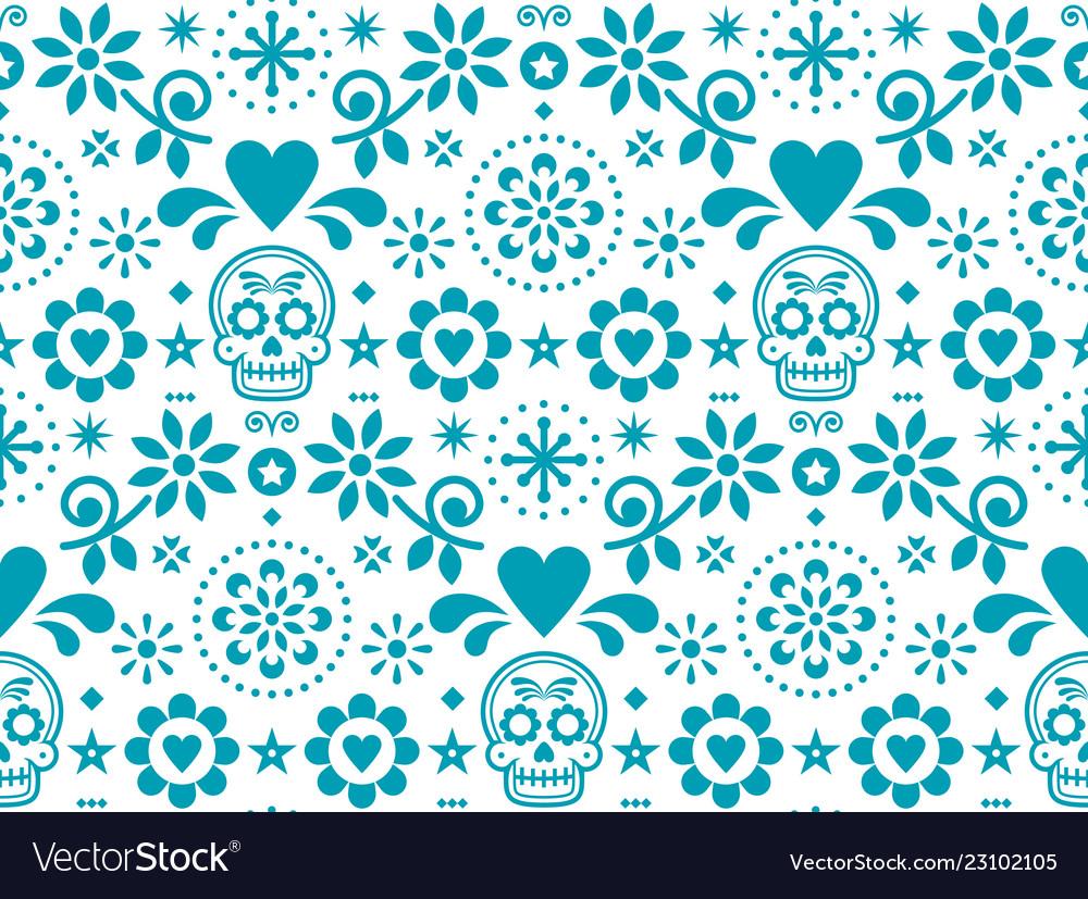 Sugar skull seamless pattern - mexican folk