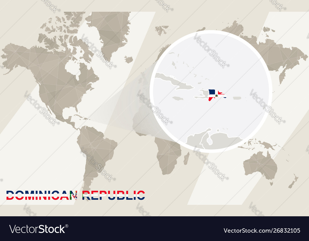 Zoom on dominican republic map and flag world map