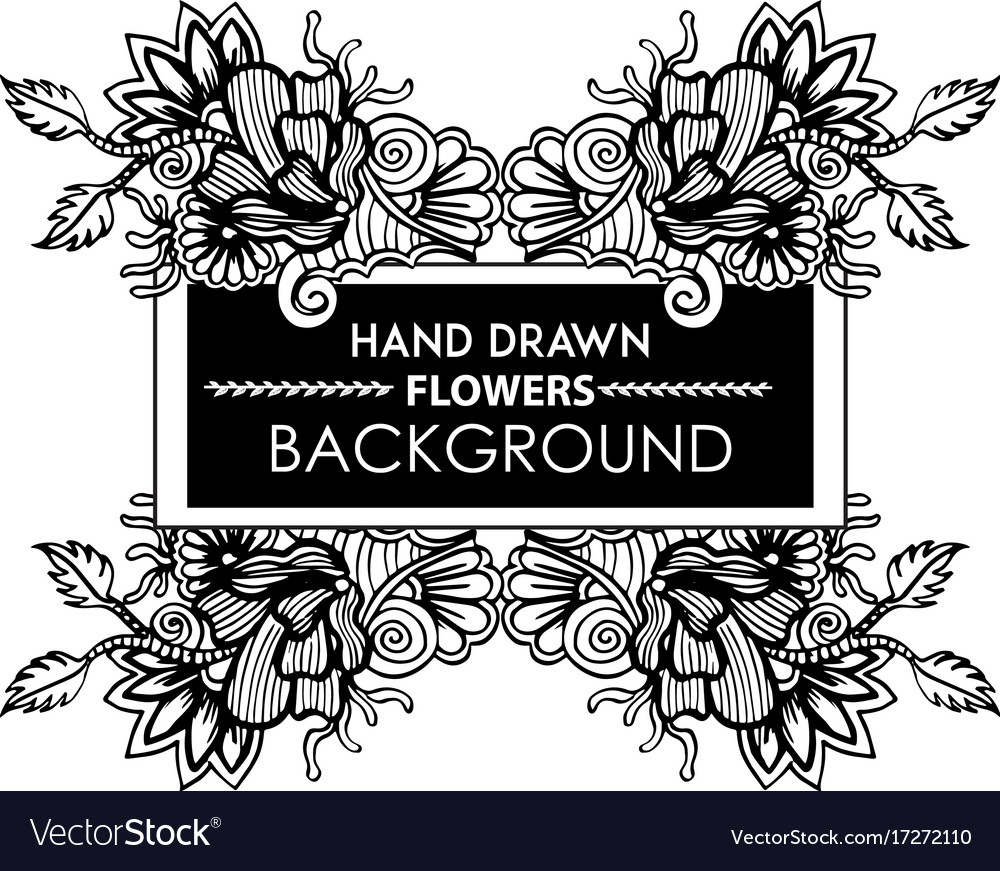Black And White Hand Drawn Floral Frame Royalty Free Vector