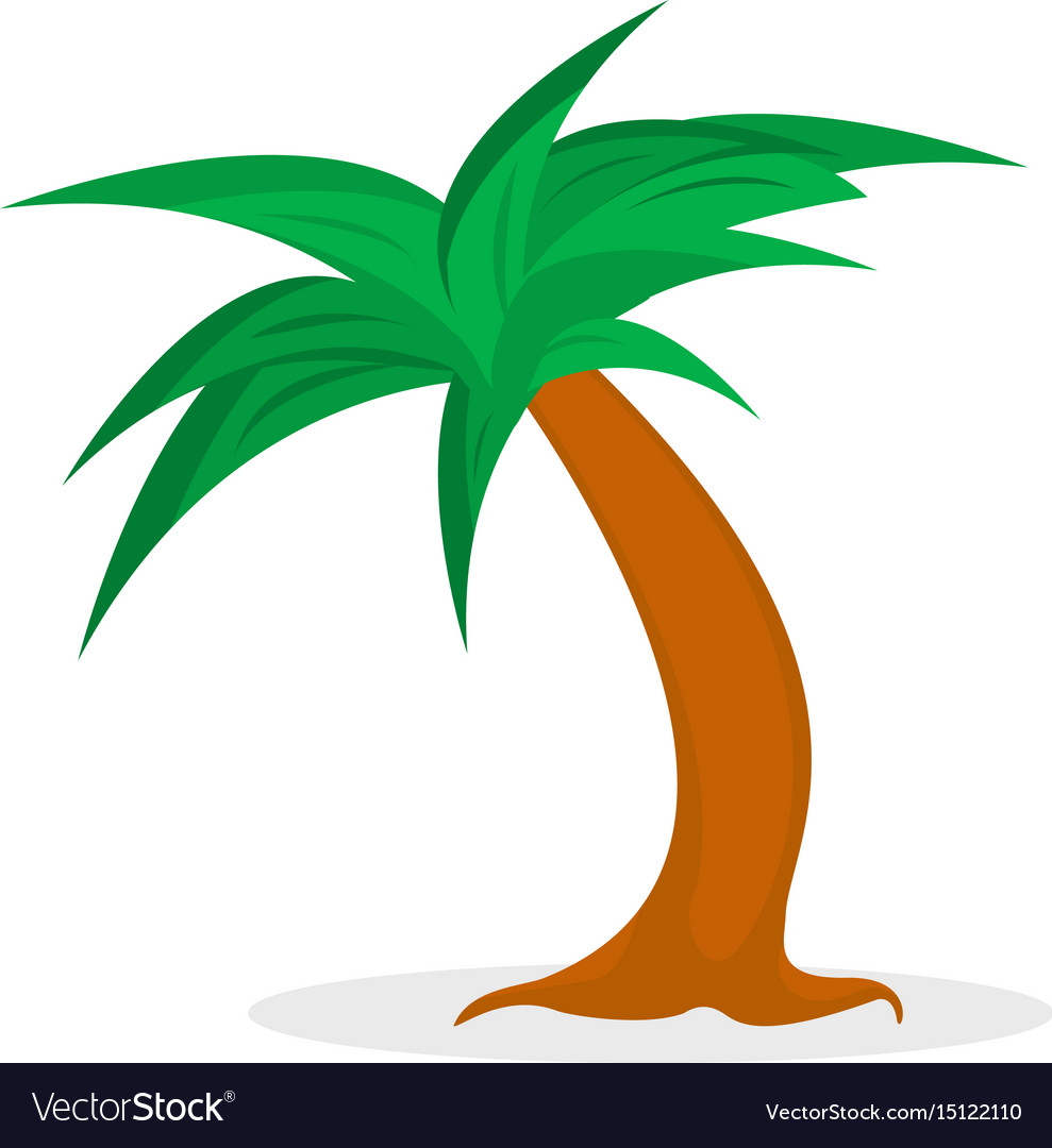 Cartoon palm tree isolated on a white background vector image