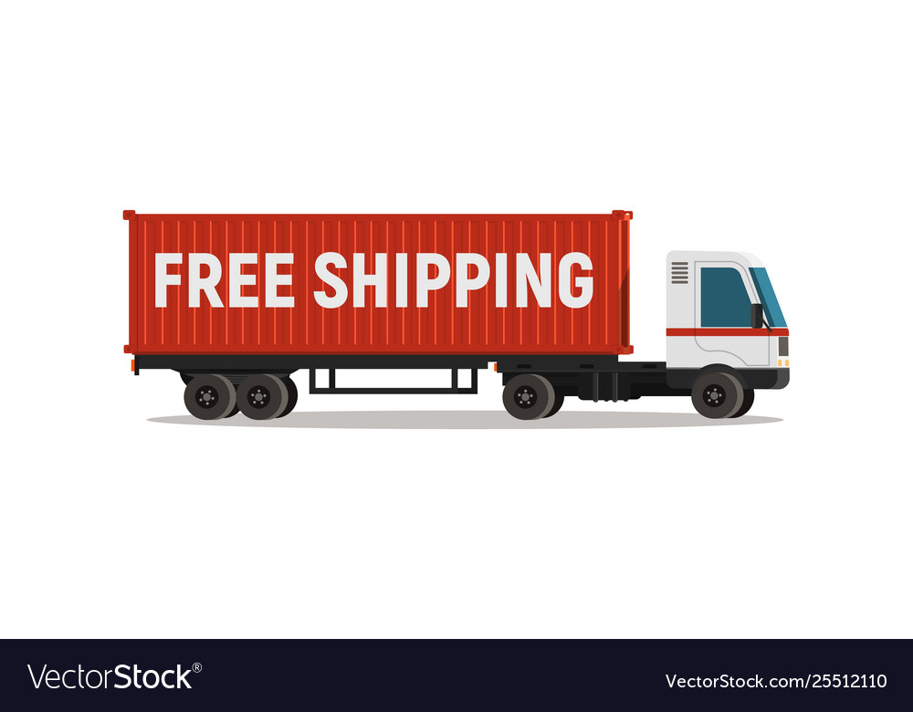 Cartoon truck with shipping container isolated