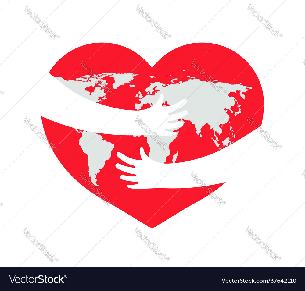 Earth in heart save planet hand with love and