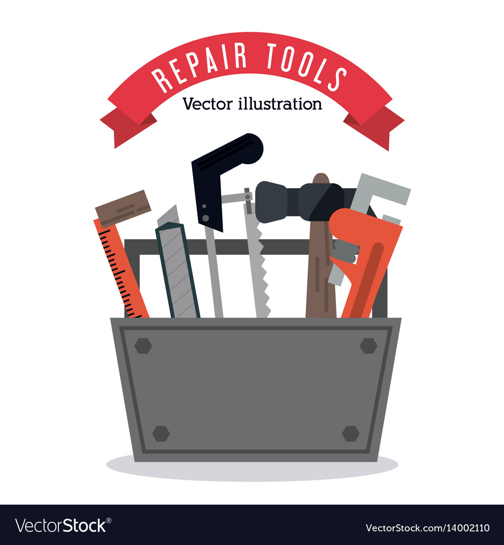 Hammer ruler wrench saw icon graphic vector image