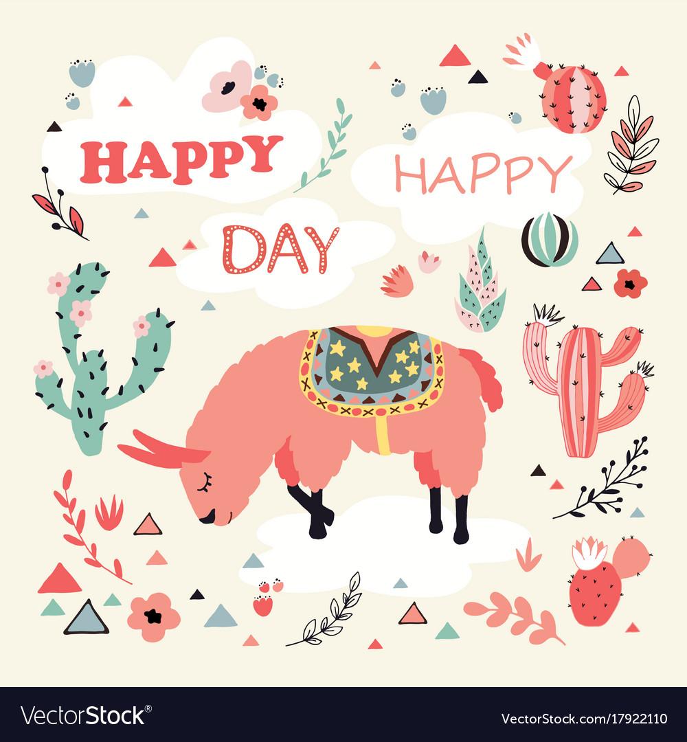 Happy lama card